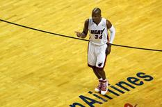 May 24, 2014; Miami, FL, USA; Miami Heat guard Ray Allen (34) celebrates a three pointer against the Indiana Pacers in game three of the Eastern Conference Finals of the 2014 NBA Playoffs at American Airlines Arena. Mandatory Credit: Robert Mayer-USA TODAY Sports