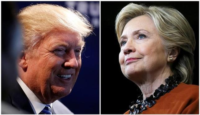 11月3日、最新の世論調査2件で米大統領選の民主党候補ヒラリー・クリントン氏が共和党候補ドナルド・トランプ氏に対するリードをわずかながらも維持していることが分かった。写真は10月26日、それぞれの集会に出席する両候補の合成写真(2016年 ロイター/Carlo Allegri (L)/Carlos Barria (R))
