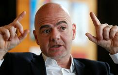 FIFA President Gianni Infantino gestures during an interview with Reuters at the FIFA headquarters in Zurich, Switzerland November 2, 2016. REUTERS/Arnd Wiegmann