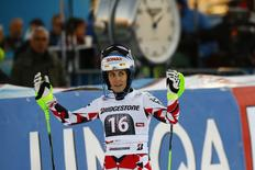 Eva-Maria Brem of Austria reacts following the women's slalom of the Alpine Skiing World Cup in Lienz, Austria, December 29, 2015. REUTERS/Leonhard Foeger