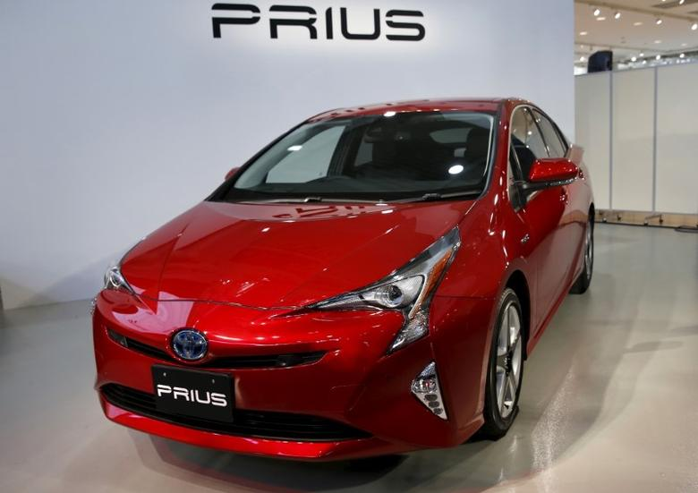 Toyota Motor Corp's new Prius hybrid car is displayed during its Japan launch event in Tokyo, Japan, December 9, 2015.  REUTERS/Toru Hanai