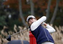 Golf - LPGA KEB Hana Bank Championship - Fourth Round - Incheon, South Korea - 16/10/16.  Park Sung-hyun of South Korea tees off on the ninth hole. REUTERS/Kim Hong-Ji