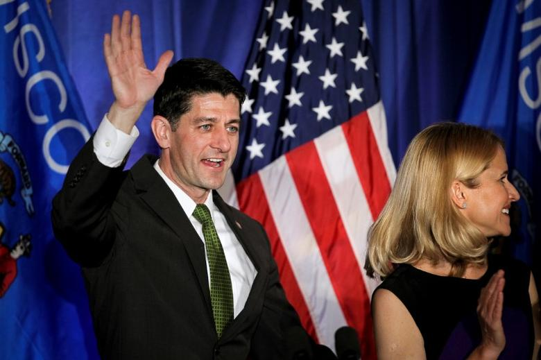 Paul Ryan waves to the crowd during an Election Night event in Janesville, Wisconsin. REUTERS/Ben Brewer