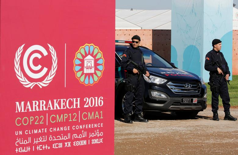 Moroccan security stand guard in front of the entrance of the World Climate Change Conference 2016 (COP22) in Marrakech, Morocco, November 9, 2016. REUTERS/Youssef Boudlal