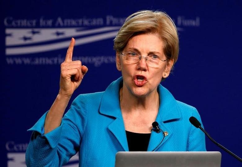 U.S. Senator Elizabeth Warren (D-MA) delivers remarks at the Center for American Progress in Washington U.S. July 13, 2016.  REUTERS/Gary Cameron