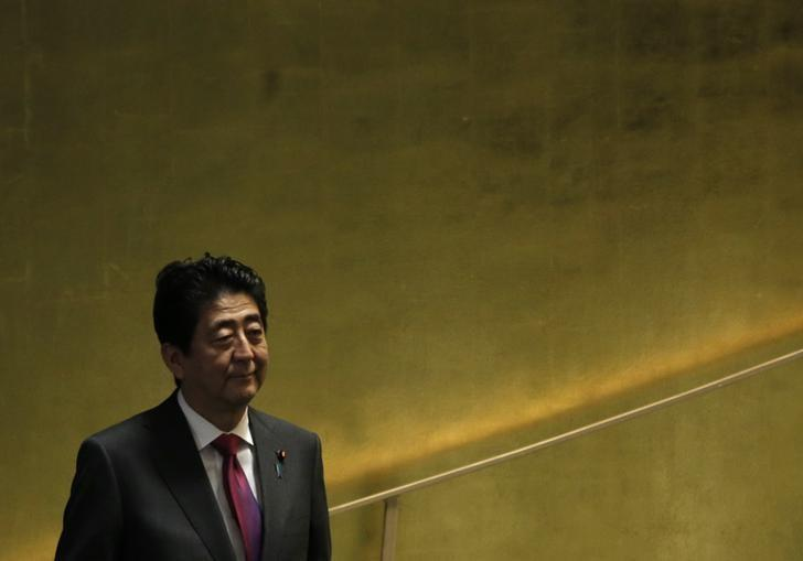 Japanese Prime Minister Shinzo Abe arrives to address the 71st United Nations General Assembly in Manhattan, New York, U.S. September 21, 2016. REUTERS/Mike Segar