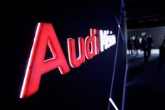 The logo of Audi is seen during the opening of a new plant in San Jose Chiapa, in Puebla state, Mexico, September 30, 2016. REUTERS/Imelda Medina