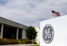 The logo of Dow Jones Industrial Average stock market index listed company General Electric is shown at their subsidiary company GE Aviation in Santa Ana, California April 13, 2016.  REUTERS/Mike Blake/File Photo
