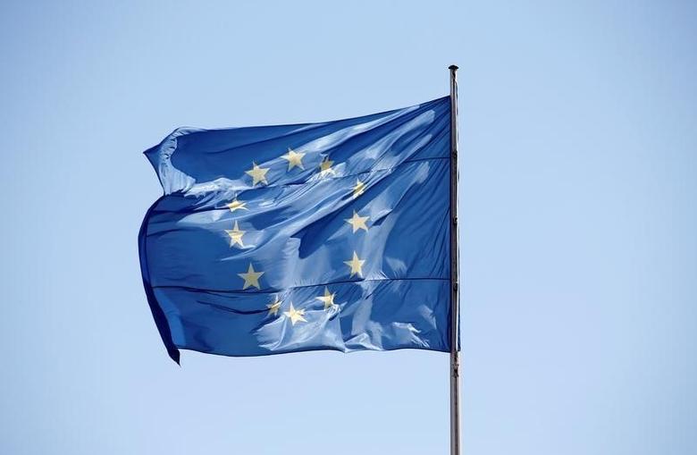 2016年4月29日,德国柏林总理府飘扬的欧盟旗帜。REUTERS/Fabrizio Bensch