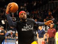 "Cleveland Cavaliers forward LeBron James wears an "" I Can't Breathe"" t-shirt during warm ups prior to the game against the Brooklyn Nets in Brooklyn, New York, December 8, 2014.   Mandatory Credit: Robert Deutsch-USA TODAY Sports/File Photo"
