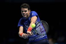 Britain Tennis - Barclays ATP World Tour Finals - O2 Arena, London - 17/11/16 Canada's Milos Raonic in action during his round robin match with Austria's Dominic Thiem Action Images via Reuters / Tony O'Brien Livepic
