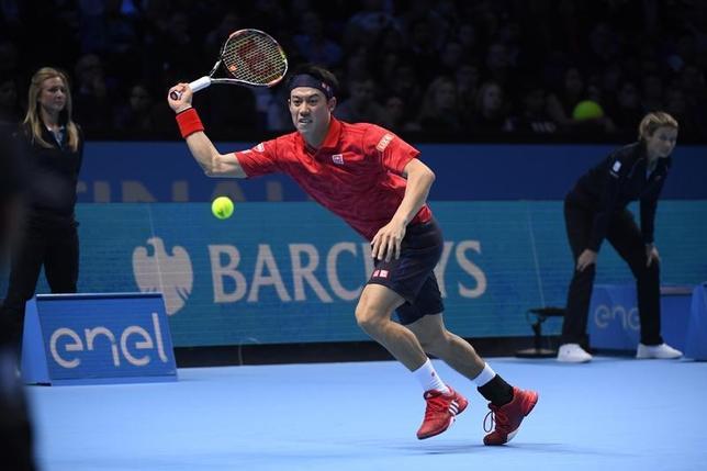 11月18日、男子テニスの年間成績上位8人が争う今季最終戦、ATPツアー・ファイナル、シングルスで世界ランク5位の錦織圭は準決勝に進んだ(2016年 ロイター)