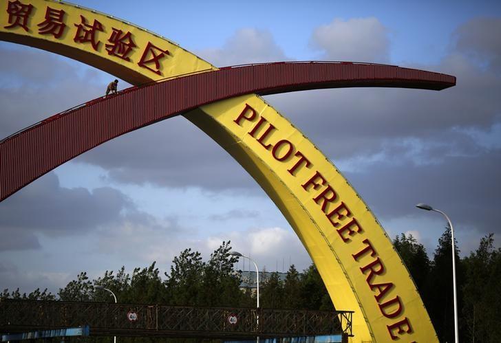 2013年9月25日,上海自贸区入口的欢迎标识。REUTERS/Carlos Barria