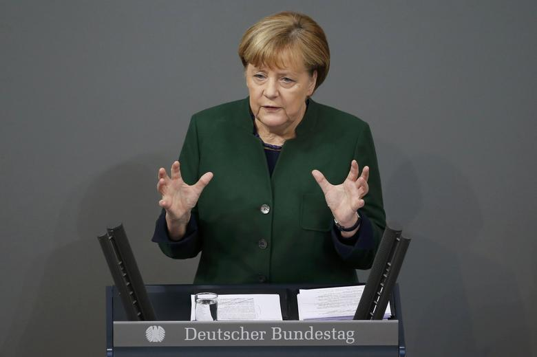 German Chancellor Angela Merkel speaks during a meeting at the lower house of parliament Bundestag on 2017 budget in Berlin, Germany, November 23, 2016. REUTERS/Fabrizio Bensch