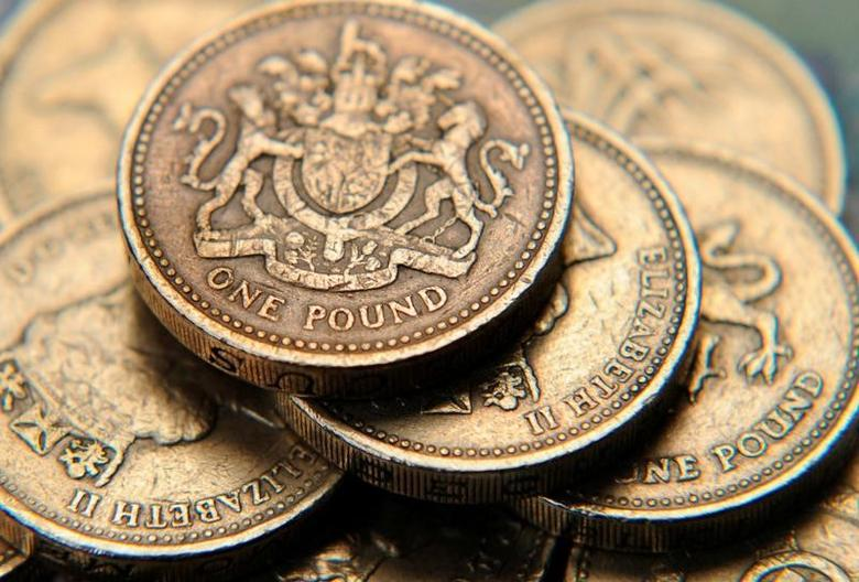 2008年6月17日,图为多枚英镑硬币。REUTERS/Toby Melville