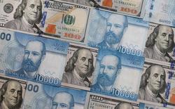 Ilustración fotográfica de billetes de 100 dólares de Estados Unidos y 10.000 pesos chilenos. 1 de agosto de 2016. La desaceleración de la inflación por debajo de la meta establecida por el Banco Central de Chile durante parte del próximo año no justifica por sí mismo un movimiento en la tasa de interés clave, dijo el vicepresidente del organismo en una entrevista publicada el domingo por un diario local. REUTERS/Rodrigo Garrido/Illustration - RTSKMLZ