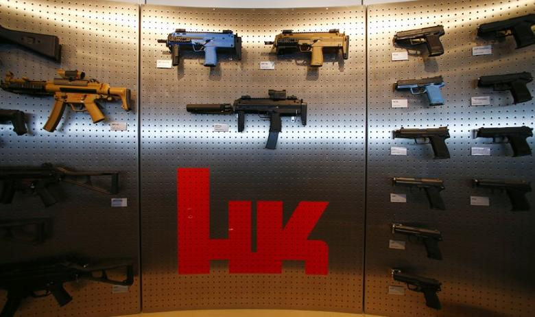 Heckler & Koch weapons are pictured at a show room at the headquarters in Oberndorf, 80 kilometers southwest of Stuttgart, Germany, May 8, 2015. Picture taken May 8, 2015.