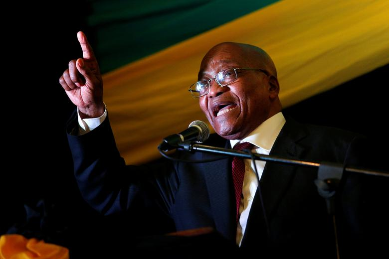 South African President Jacob Zuma sings at the City Hall in Pietermaritzburg, South Africa, November 18, 2016. REUTERS/Rogan Ward