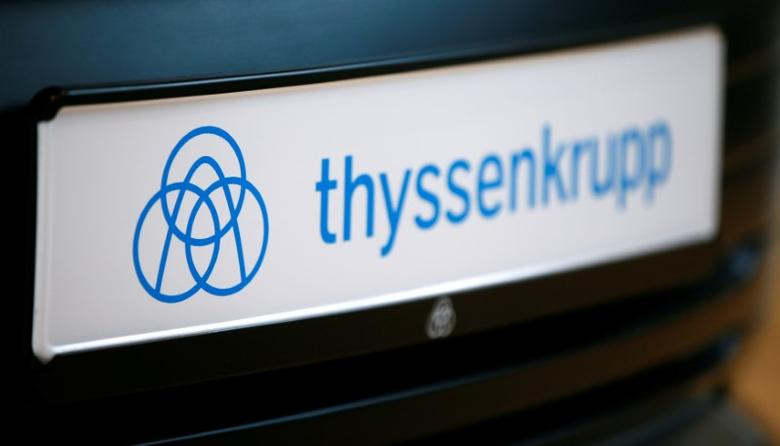 The logo of German steel-to-elevators group ThyssenKrupp AG is pictured during the company's annual news conference in Essen, Germany, November 24, 2016. REUTERS/Wolfgang Rattay - RTST3F8