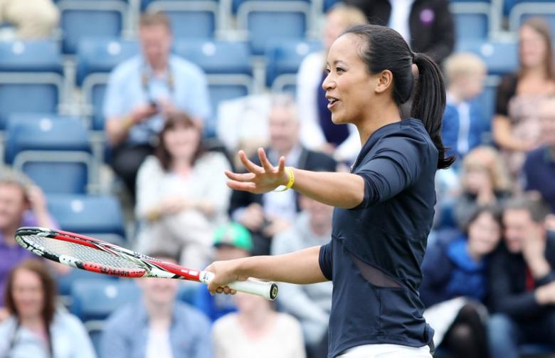 Tennis - AEGON Classic - Edgbaston Priory Club  - 15/6/14 Anne Keothavong during the Rally4Bally mixed doubles exhibition match Mandatory Credit: Action Images / Ed Sykes
