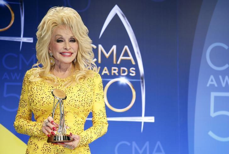 Singer Dolly Parton poses backstage with her Willie Nelson Lifetime Achievement Award during the 50th Annual Country Music Association Awards in Nashville, Tennessee, U.S., November 2, 2016. REUTERS/Jamie Gilliam