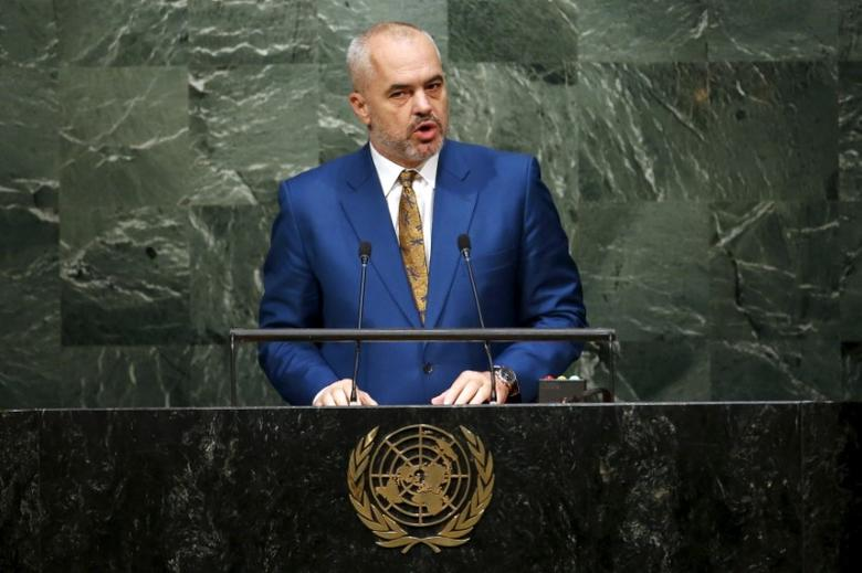 Edi Rama, Prime Minister of Albania, addresses attendees during the 70th session of the United Nations General Assembly at U.N. Headquarters in New York, October 2, 2015. REUTERS/Mike Segar
