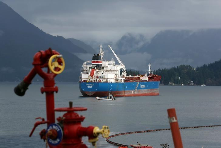 The Nord Steady, a chemical/oil tanker, anchors before mooring at a Vancouver-area Chevron refinery in Burnaby, British Columbia, Canada November 17, 2016. Picture taken November 17, 2016. To match Analysis CANADA-PORTS/CRUDE    REUTERS/Chris Helgren