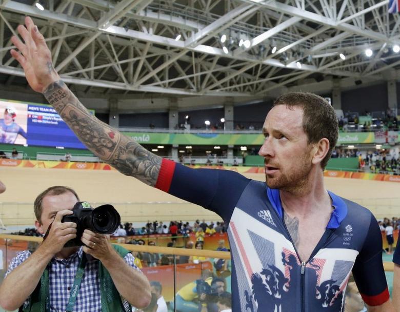 2016 Rio Olympics - Cycling Track - Final - Men's Team Pursuit Final Gold Race - Rio Olympic Velodrome - Rio de Janeiro, Brazil - 12/08/2016. Bradley Wiggins (GBR) of Britain celebrates winning the race and setting a new world record. REUTERS/Eric Gaillard