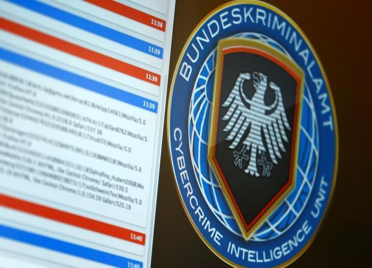 Logo of the Cybercrime Intelligence Unit of Germany's Bundeskriminalamt (BKA) Federal Crime Office is pictured as an investigator demonstrates in a simulation how they communicate with cyber criminals, during a media day in Wiesbaden, Germany, July 27, 2016.  REUTERS/Ralph Orlowski      TPX IMAGES OF THE DAY