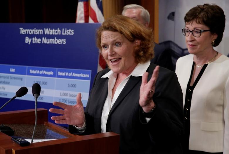 Senator Heidi Heitkamp (D-ND) speaks at a news conference with a bipartisan group of senators on Capitol Hill in Washington, D.C., U.S., to unveil a compromise proposal on gun control measures, June 21, 2016. REUTERS/Yuri Gripas