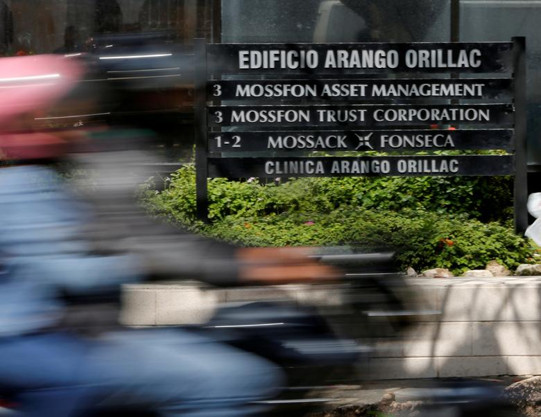A company list showing the Mossack Fonseca law firm is pictured outside the Arango Orillac Building in Panama City May 9, 2016.   REUTERS/Carlos Jasso/File Photo