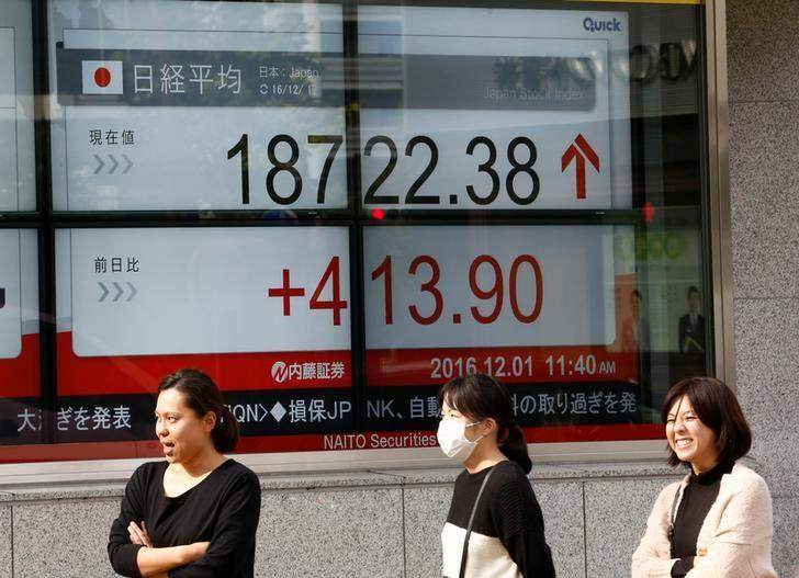 Pedestrians stand in front of an electronic board showing Japan's Nikkei average outside a brokerage in Tokyo, Japan, December 1, 2016. REUTERS/Kim Kyung-Hoon