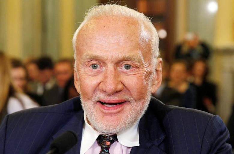 Former astronaut Buzz Aldrin testifies at a Senate Subcommittee on Space, Science, and Competitiveness, entitled ''U.S. Human Exploration Goals and Commercial Space Competitiveness,'' on Capitol Hill in Washington, February 24, 2015. REUTERS/Kevin Lamarque/File Photo