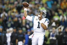 Dec 4, 2016; Seattle, WA, USA; Carolina Panthers quarterback Cam Newton (1) passes against the Seattle Seahawks during the first quarter at CenturyLink Field. Mandatory Credit: Joe Nicholson-USA TODAY Sports