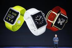 Apple CEO Tim Cook speaks about the Apple Watch during an Apple event at the Flint Center in Cupertino, California, U.S. September 9, 2014.   REUTERS/Stephen Lam/File Photo