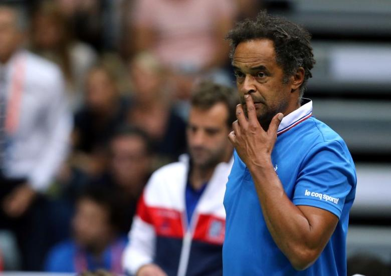 Tennis - Croatia v France - Davis Cup Semi Final - Kresimir Cosic Hall, Zadar, Croatia - 18/9/16  France's coach Yannick Noah reacts during singles match France's Richard Gasquet against Croatia's Marin Cilic. Reuters/Antonio Bronic