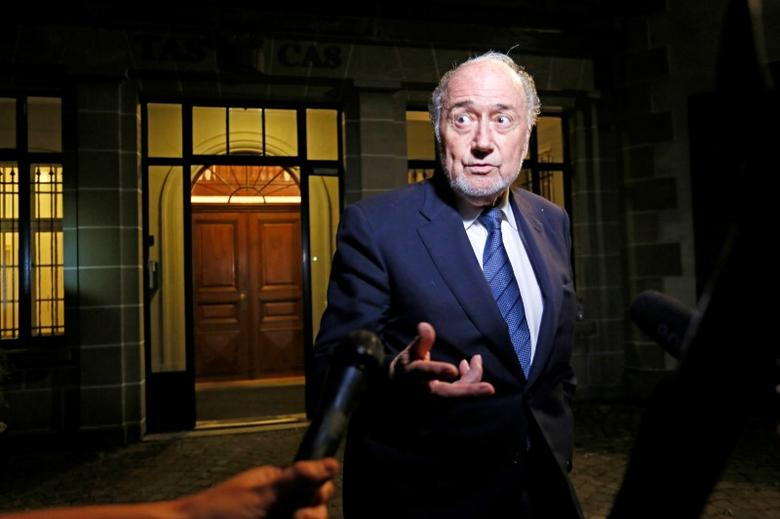 Former FIFA President Sepp Blatter is seen leaving the Court of Arbitration for Sport (CAS) in this file picture taken in Lausanne, Switzerland, August 25, 2016. REUTERS/Pierre Albouy/File Photo