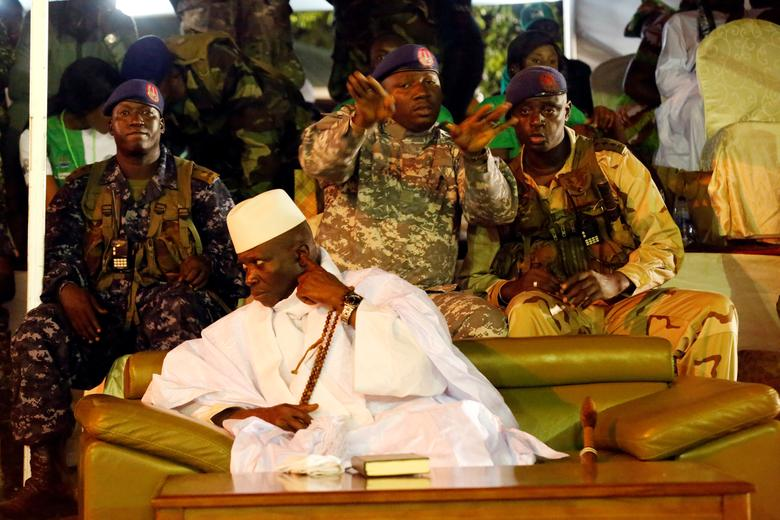 Gambia's President Yahya Jammeh, who is also a presidential candidate for the Alliance for Patriotic Re-orientation and Construction (APRC) attends a rally in Banjul, Gambia November 29, 2016. REUTERS/Thierry Gouegnon