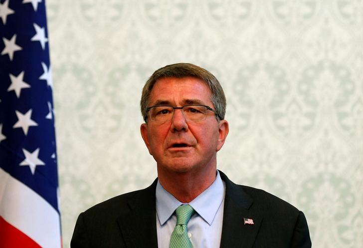 U.S. Defense Secretary Ashton Carter speaks during a joint news conference with Afghanistan's President Ashraf Ghani in Kabul, Afghanistan December 9, 2016. REUTERS/Mohammad Ismail