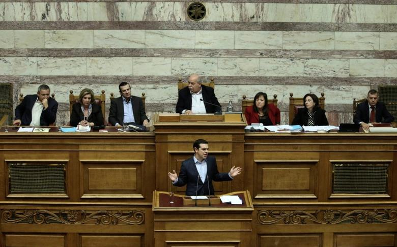 Greek Prime Minister Alexis Tsipras delivers a speech during a parliamentary session before a budget vote in Athens, Greece, December 10, 2016. REUTERS/Alkis Konstantinidis