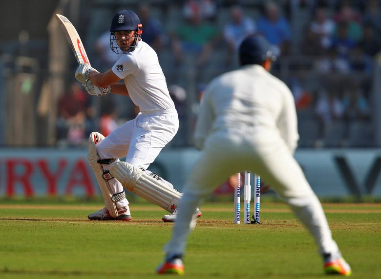 Cricket - India v England - Fourth Test cricket match - Wankhede Stadium, Mumbai, India - 8/12/16. England's Alastair Cook plays a shot. REUTERS/Danish Siddiqui