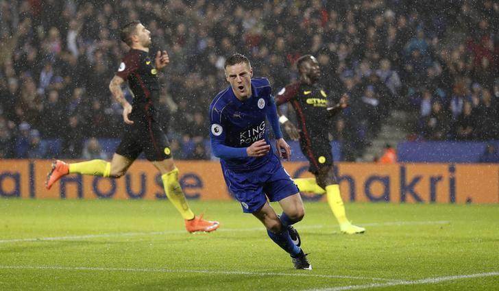 Leicester City's Jamie Vardy celebrates scoring their third goal. Leicester City v Manchester City - Premier League - King Power Stadium - 10/12/16. Reuters / Darren Staples Livepic