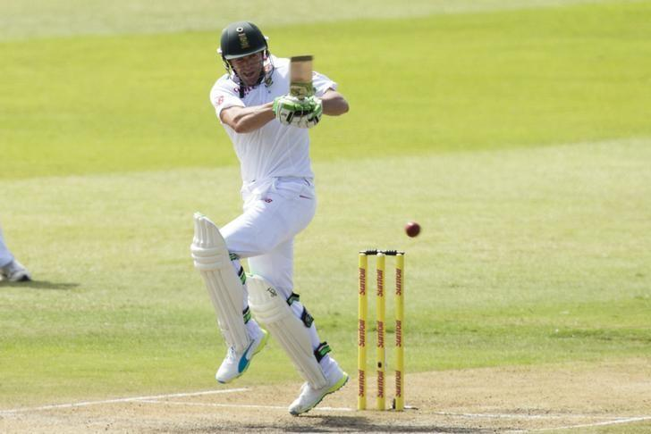 South Africa's AB de Villiers plays a shot during their first cricket test match against England in Durban, South Africa, December 27, 2015. REUTERS/Rogan Ward/Files