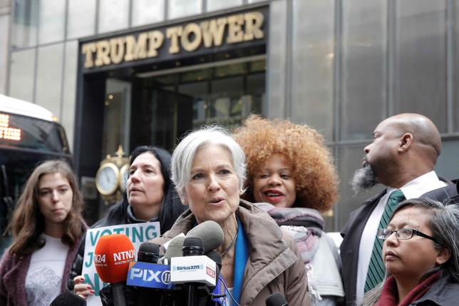 Green Party presidential nominee Jill Stein speaks during a news conference outside Trump Tower in Manhattan, New York City, U.S. December 5, 2016.  REUTERS/Brendan McDermid/File Photo