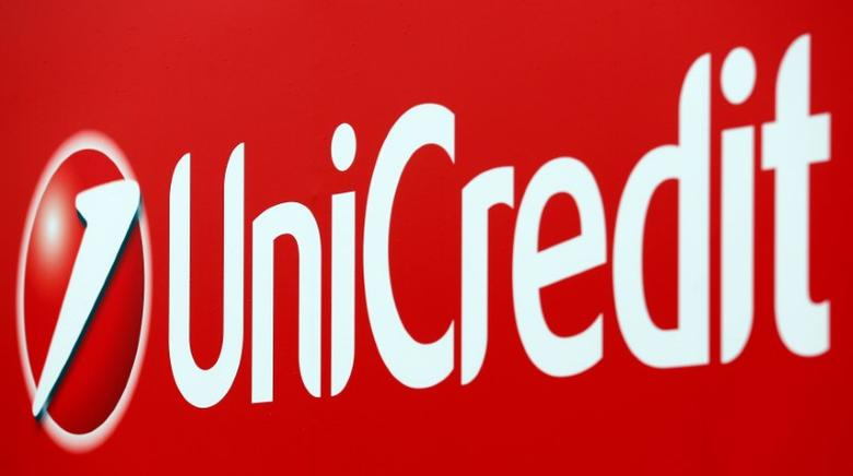 Unicredit bank logo is seen on a banner downtown Milan, Italy, May 23, 2016. REUTERS/Stefano Rellandini/File Photo