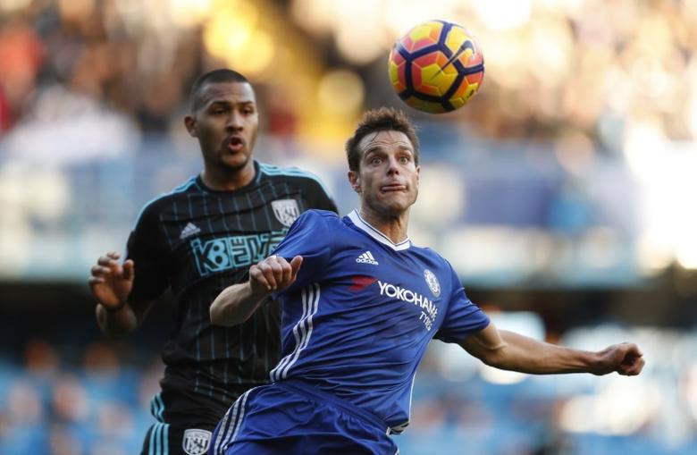 Chelsea's Cesar Azpilicueta in action with West Bromwich Albion's Salomon Rondon. Chelsea v West Bromwich Albion - Premier League - Stamford Bridge - 11/12/16. Action Images via Reuters / John Sibley Livepic