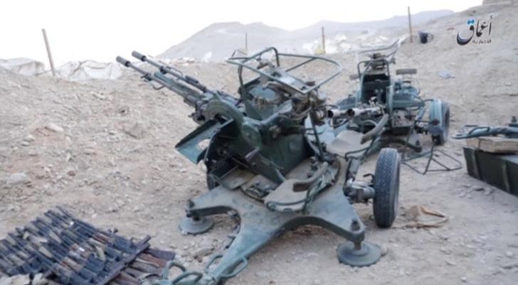 A view of equipment in a Russian base in what is said to be Palmyra, Syria in this still image taken from video uploaded to social media on December 13, 2016.  Amaq News Agency/Handout via Reuters TV
