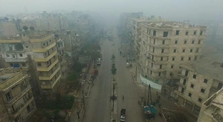 A still image from video taken December 13, 2016 of a general view of eastern Aleppo, Syria in the rain. Video released December 13, 2016.      REUTERS/via ReutersTV