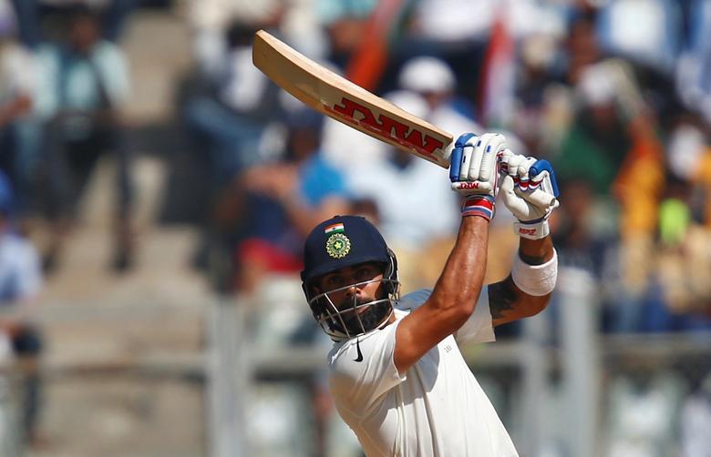Cricket - India v England - Fourth Test cricket match - Wankhede Stadium, Mumbai, India - 11/12/16. India's Virat Kohli plays a shot. REUTERS/Danish Siddiqui