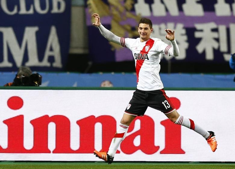 Lucas Alario of Argentine club River Plate celebrates after scoring against Japan's Sanfrecce Hiroshima during their Club World Cup semi-final soccer match in Osaka, western Japan, December 16, 2015. REUTERS/Thomas Peter